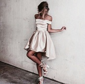 dress,pretty,rose,girl,short,champagne,gold,nude,cream,prom dress,silk dress,silk,off the shoulder,midi dress,pink,pink dress,elegant long dresses,shoes,purple,short dress,light purple dress,cute dress,short homecoming dress,rose gold,satin,homecoming dress,gorgeous