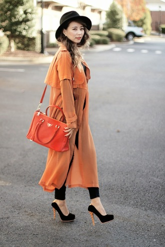 different cands blogger jewels chiffon red bag trench coat hat rust