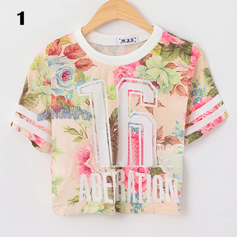 women floral crop t shirt flower number short sleeve crew neck tee top fashion