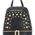 Baldinini - studded backpack - women - Cotton/Leather/metal - One Size, Black, Cotton/Leather/metal