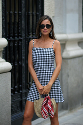 dress,checkered dress,hat,sunglasses,black and white dress,short dress