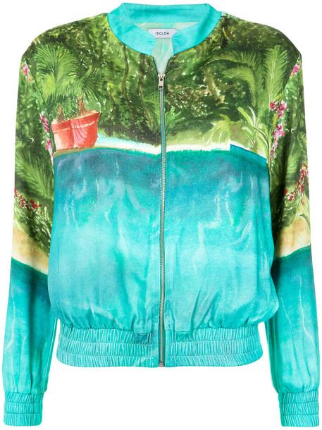 Isolda - printed bomber jacket - women - Viscose - 42, Blue, Viscose