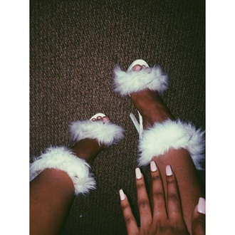 shoes white fluffy heels white heels funny