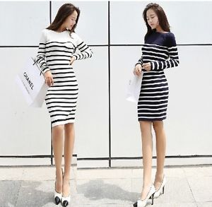 Free women fall stripes casual long sleeve blouse knit sweater dress long skirts