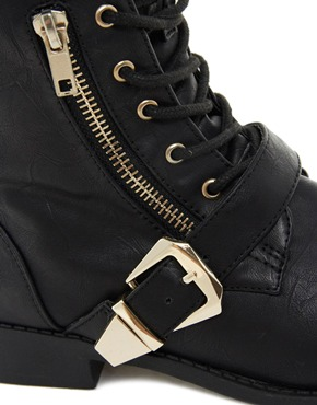 New Look | New Look Best Zip Detail Lace Up Biker Boots at ASOS