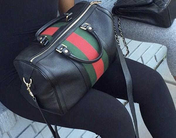 ead1431752ee81 Gucci - Black Vintage Web Leather Boston Bag - Lyst