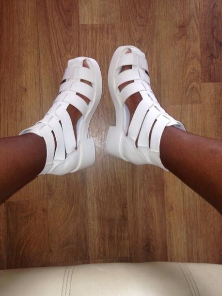 shoes juju white sandals