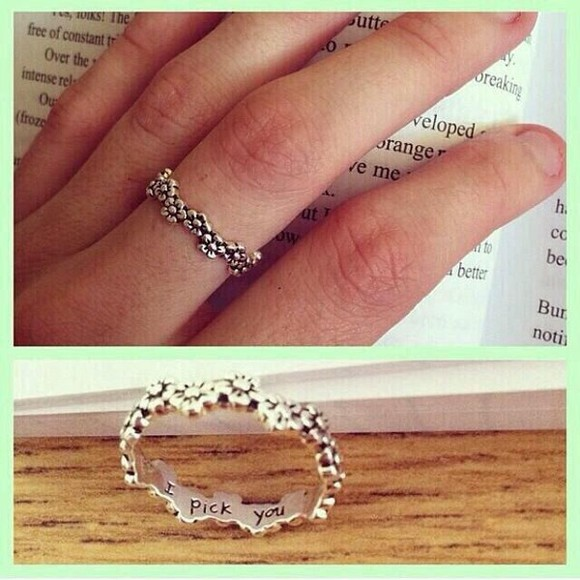 jewels cute ring silver fashion flower ring jewelery flowers engraved ring accessories silver rings style want it!!!!