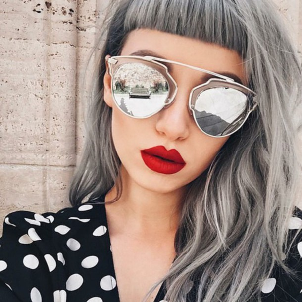make-up silver hair bangs hairstyles sunglasses silver sunglasses dior sunglasses  mirrored sunglasses red lipstick 71d3e42b9af