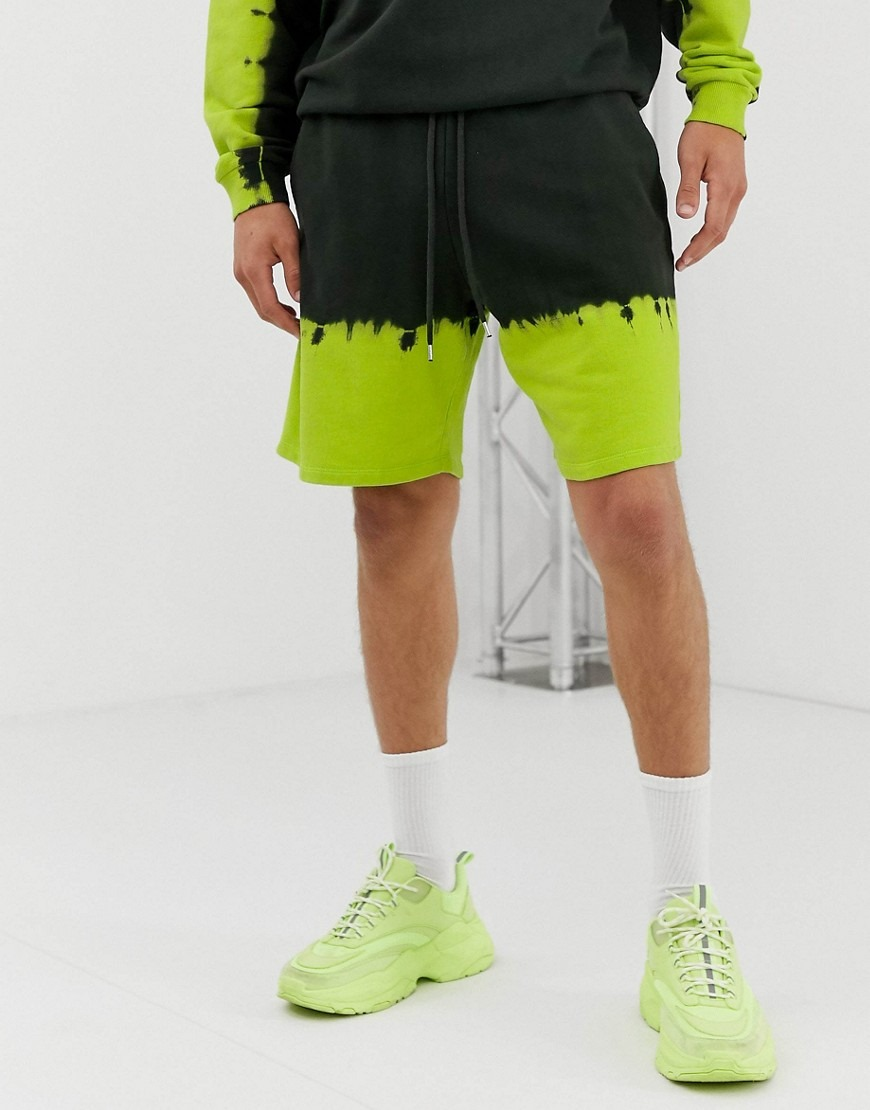 ASOS DESIGN co-ord shorts with neon tie dye hems