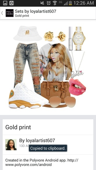 top crewneck nicki minaj crew neck gold