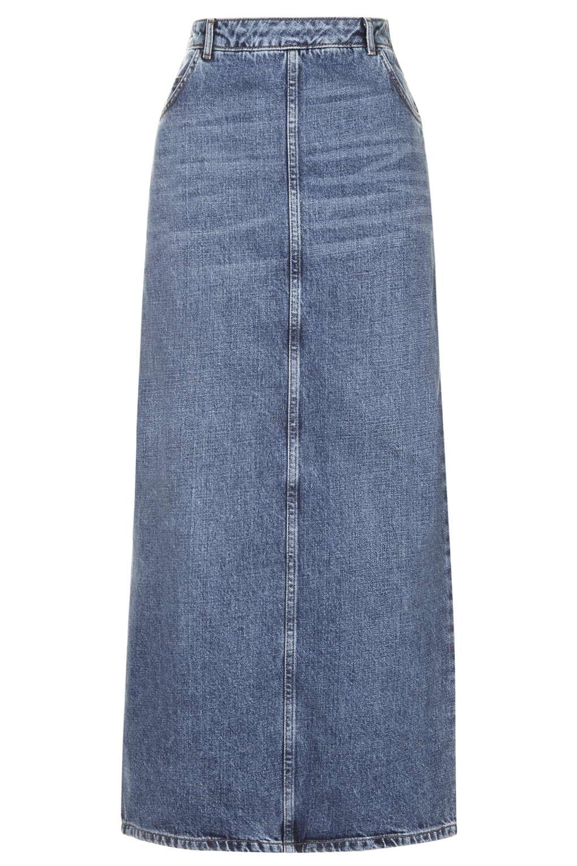 moto awkward length denim skirt