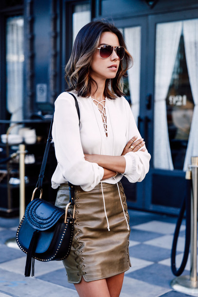 skirt lace up skirt mini skirt shirt lace up top white top white blouse bag chloe chloe bag black bag viva luxury blogger shoulder bag summer outfits sunglasses aviator sunglasses lace up