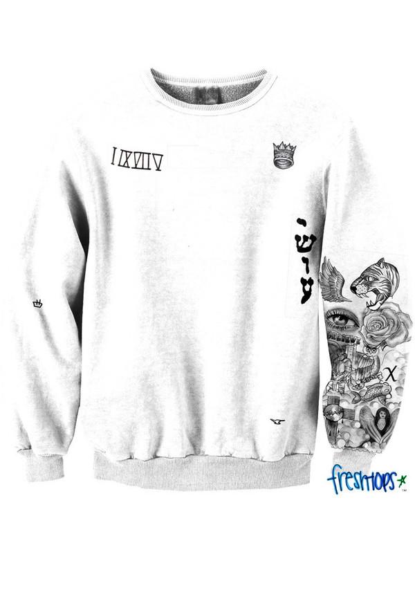 Sweater freshtops justin bieber tattoo black and white for Justin bieber black and white shirt