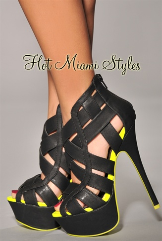 Black Straps Neon Yellow Accent High Heel Sandals