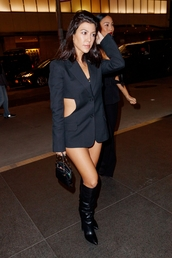 jacket,blazer,black,black blazer,mini dress,kourtney kardashian,kardashians,boots