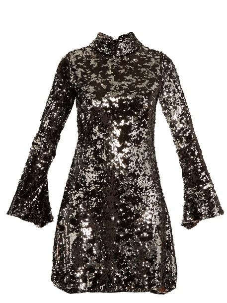 HALPERN dress high embellished silver black