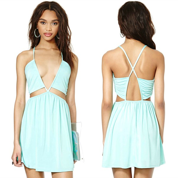 dress mint blue black nastygal strappy summer skater sexy cross back cut-out mini plunge neckline plunge v neck