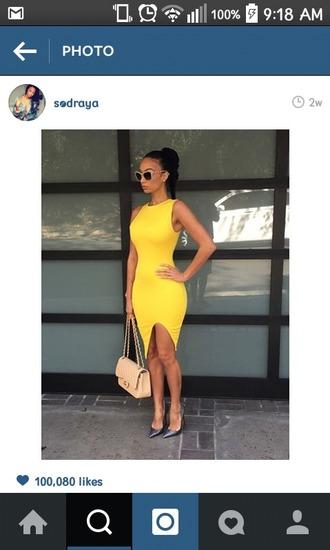 dress summer dress spring dress yellow dress bodycon dress