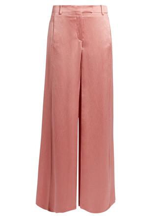 satin pink pants