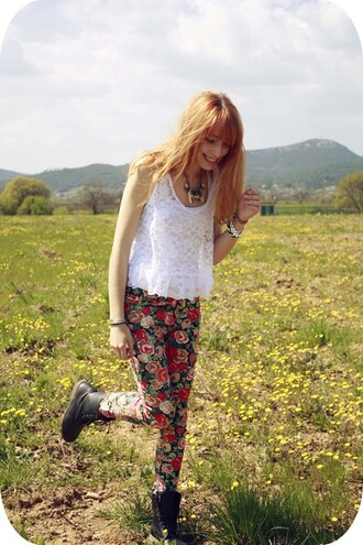 pants cookie typhaine floral flower red pants