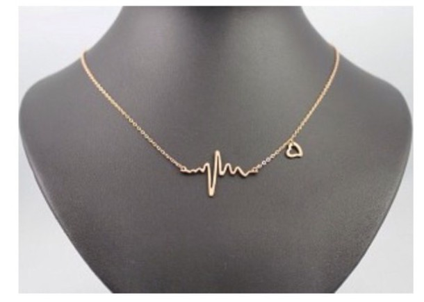 jewels necklace heartbeat gold