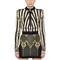 Cropped stripe jacquard knit jacket