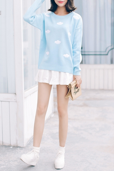Clouds Print Round Neck Long Sleeve Knit Sweater