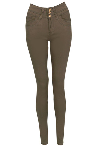 Helen Candy Skinny Jeans In Olive - Pop Couture