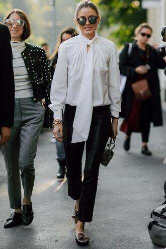 pants blouse flats olivia palermo blogger streetstyle milan fashion week 2017