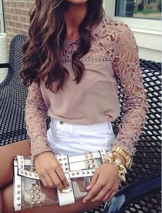 beige top lace top long sleeves crochet top