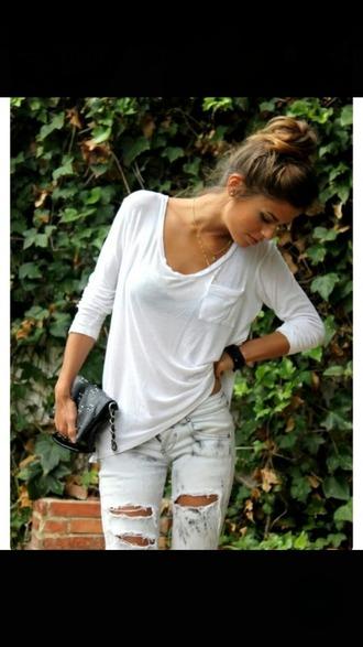 shirt baggy shirt white long sleeves