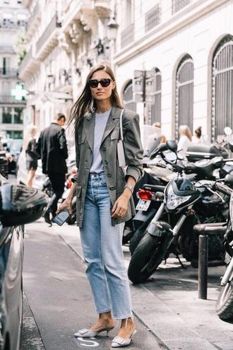 shoes mules kitten heels denim blue jeans jacket grey jacket jeans streetstyle