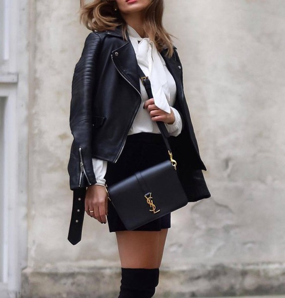 gorgeous black leather jacket outfits tumblr girls
