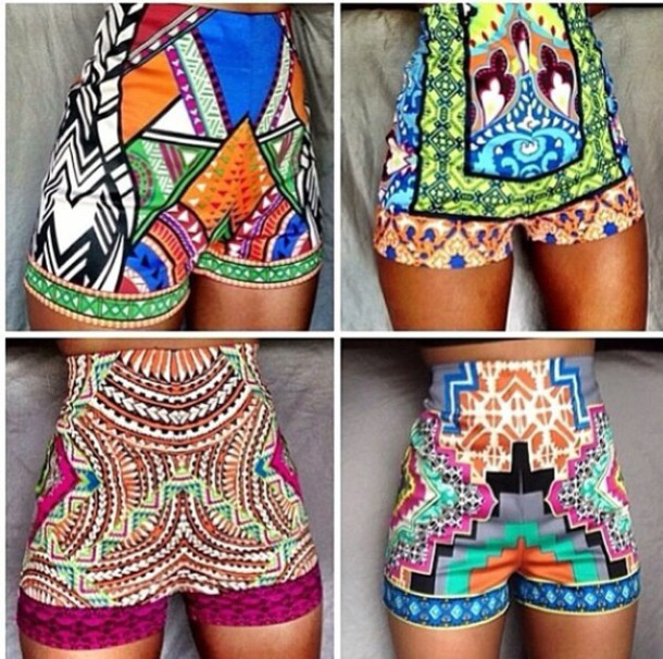 Shorts: tribal pattern, high waisted shorts, aztec shorts tribal ...