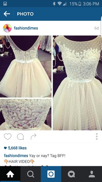 dress white dress white lace dress lace flowers open back dresses ribbon open back short short dress pretty girly girly wishlist