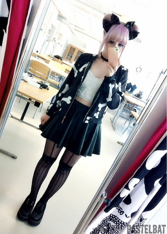 dress pastel goth pale grunge bows chocker lace black jacket