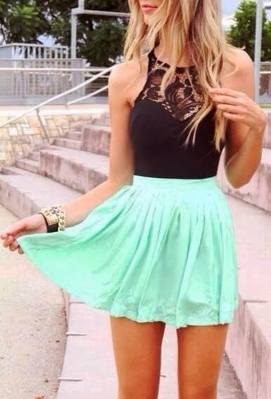 skirt mint skirt dress mint summer dress black top cute blue dress blouse