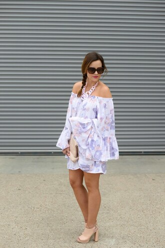 live more beautifully blogger sunglasses jewels shoes romper long sleeve romper off the shoulder statement necklace nude heels clutch summer outfits