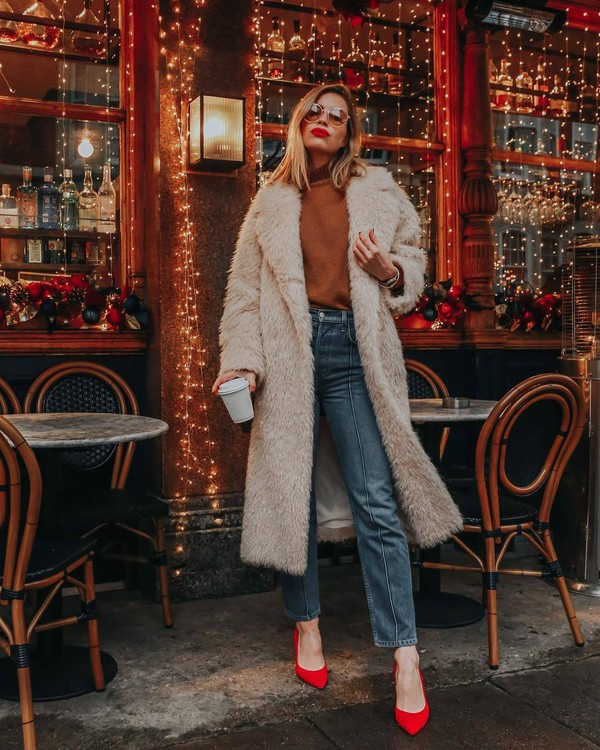 coat fur coat pumps red heels jeans brown sweater winter outfits