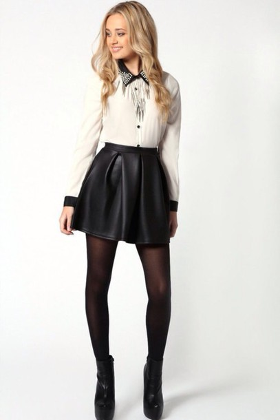 skirt skater skirt blouse black leather skirt
