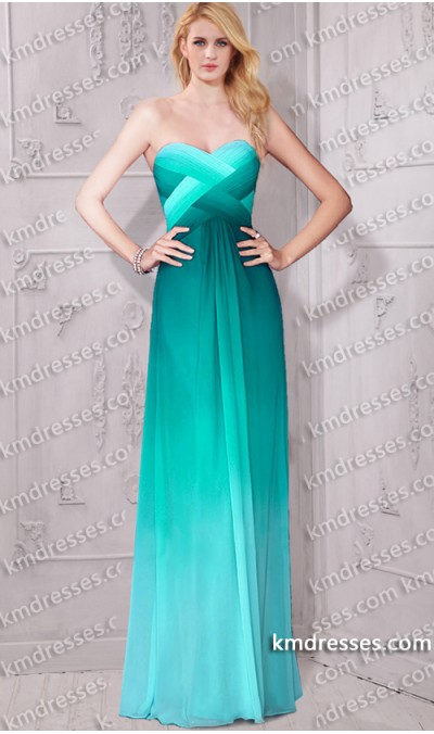 Exceptional multi tonal ombre crisscross evening gown
