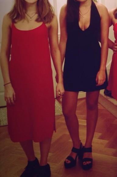 red dress midi dress strappy dress
