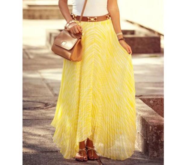 skirt yellow pleat maxi