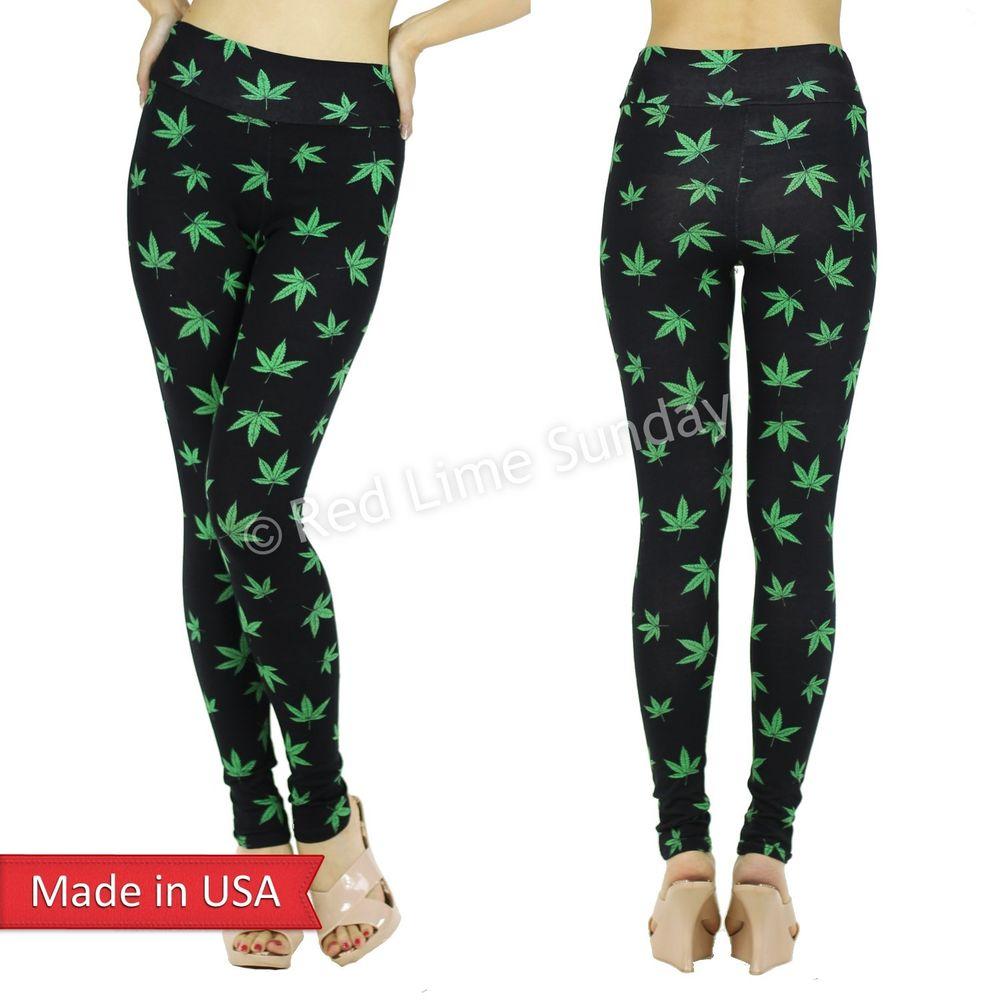 New Pot Weed Hemp Cannabis Marijuana Print High Waist Leggings Tights Pants USA