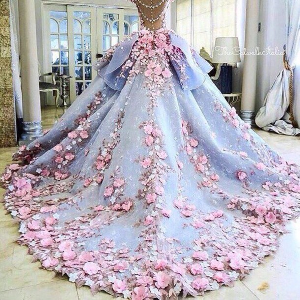 Dress Gown Blue Dress Pink Pastel Flowers Cinderella Wheretoget
