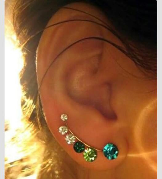 jewels gems blue green earrings piercings crystals earrings white gemstones