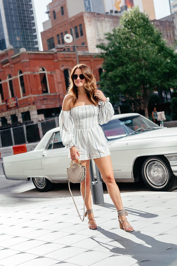 romper off the shoulder stripes shoes bag sunglasses