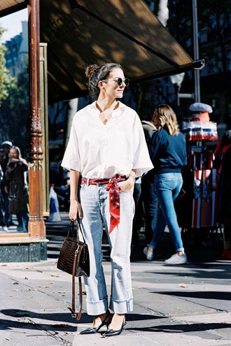 vanessa jackman blogger shirt jeans scarf shoes bag patent leather bag brown bag denim cuffed jeans slingbacks black shoes white shirt sunglasses streetstyle spring outfits patent bag