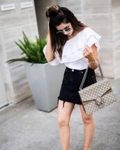 top,ruffled top,tumblr,white top,ruffle,bag,gucci,gucci bag,skirt,denim,denim skirt,black skirt